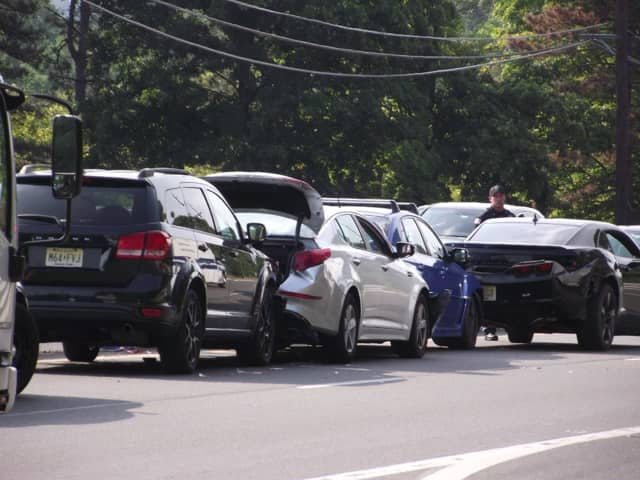One person was sent to the hospital after four cars collided on Route 208 in Glen Rock Thursday.