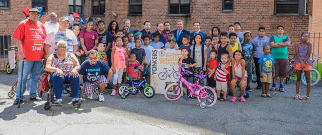 Some 40 Yonkers children received free bikes during the mayor's annual bike giveaway to those in need.