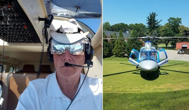 Timothy McCormack and his private copter.
