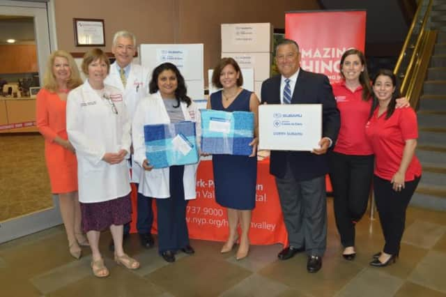 NewYork-Presbyterian/Hudson Valley Hospital received a donation of 100 blankets for cancer patients from Subaru in conjunction with the Leukemia and Lymphoma Society's Connecticut Westchester Hudson Valley chapter.