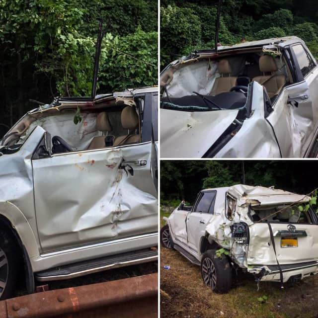 First responders in Scarsdale used a multitude of tools to assist and rescue a driver who rolled her SUV over on the Hutchinson River Parkway.