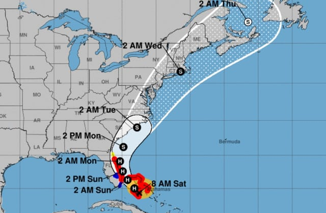 """What usually happens with tropical cyclones as they move northward is the heaviest rain tends to fall to the west of the track and the center, while the strongest winds tend to be to the east of the track,"" meteorologist Joe Cioffi said."