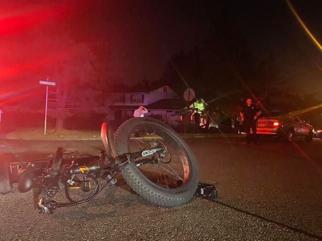 A bicyclist was seriously injured after being hit by a vehicle in Viola.