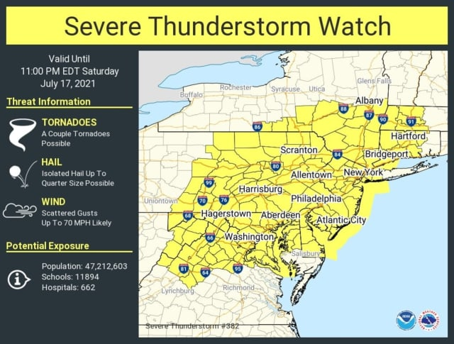 A look at areas covered by the Severe Thunderstorm Watch (in yellow).