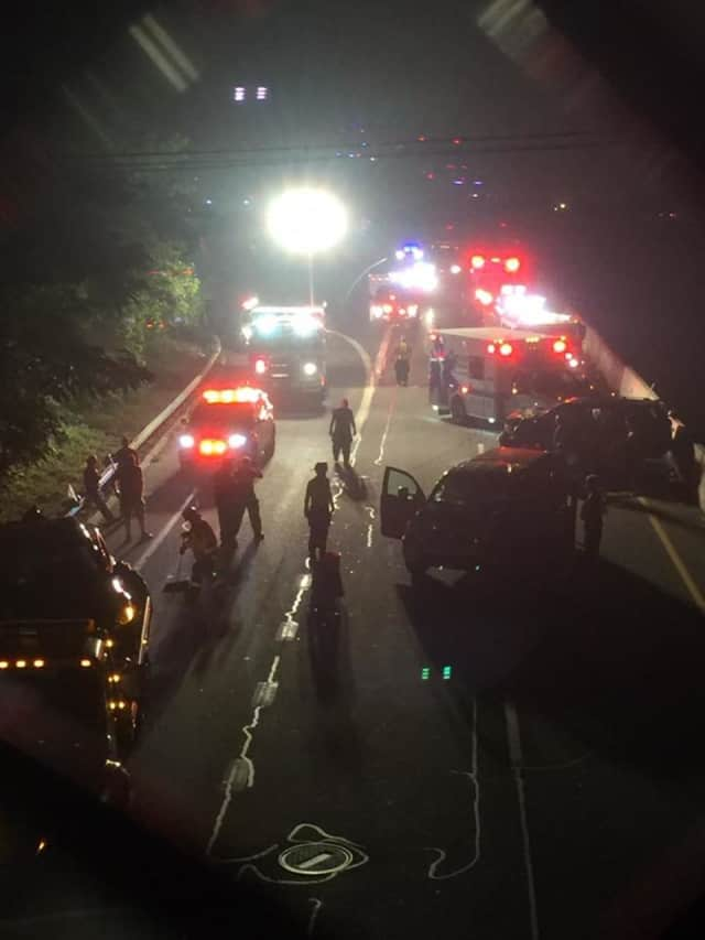 Nine people were injured in a three-car crash in Peekskill.