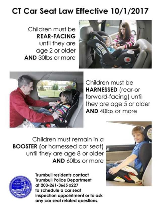 The Trumbull Police Department released a flier detailing the specifics of the new law on child safety seats in Connecticut.