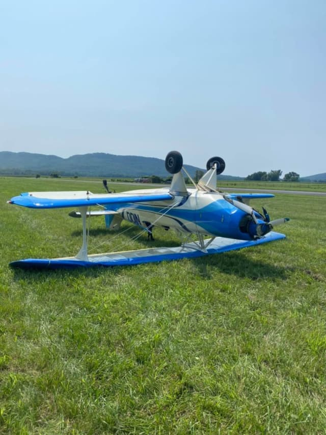 A small plane crashed on takeoff at the Northampton Airport.
