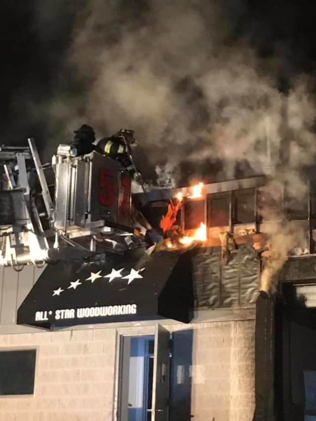 Firefighters battled a two-alarm fire in Yorktown Tuesday night.