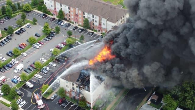 Carteret apartment building blaze