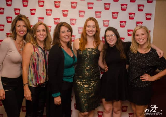 """L to R: Marci Craig Hopkins, from Wyckoff, Caytha Jentis of Waldwick, Ridgewood residents Martha Fickinger, Messlina Morley, Sophie Simpson and Katie Henly of Oradel of """"The Other F Word."""""""