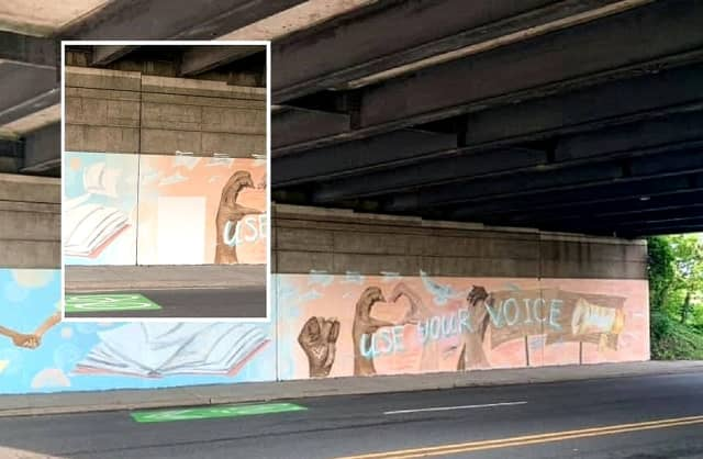 """Clifton City Manager Dominick Villano said it wasn't his call to alter the """"Use Your Voice"""" mural, completed by teenagers last weekend on the GSP overpass above Allwood Road."""