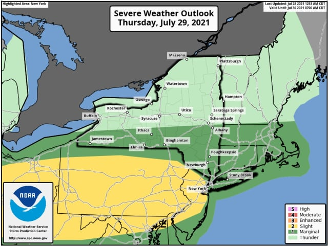 A look at areas (in dark green) at risk for strong storms on Thursday, July 29 in the mid afternoon into the late evening.