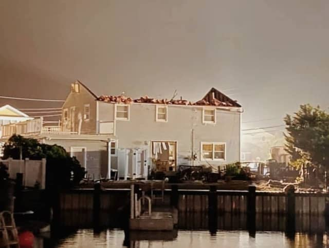 A suspected tornado tore through a Jersey Shore town Thursday night.