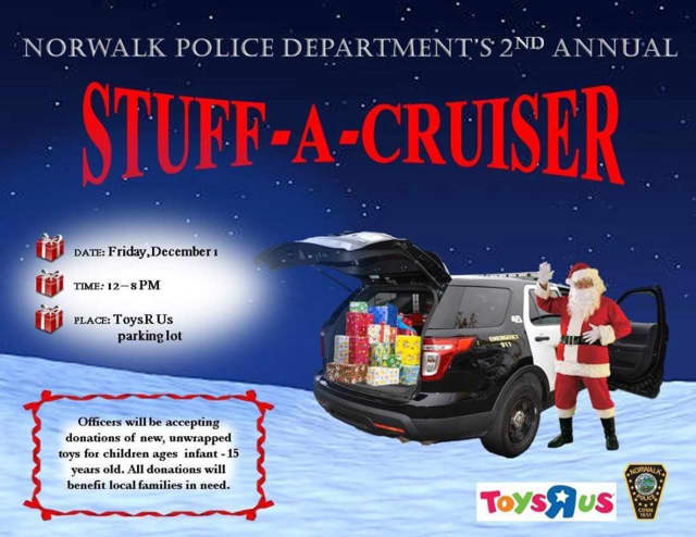 Norwalk Police will hold a Stuff A Cruiser event at Toys R Us on Friday