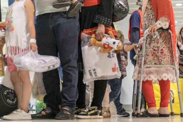 Afghan refugees arriving in the US.