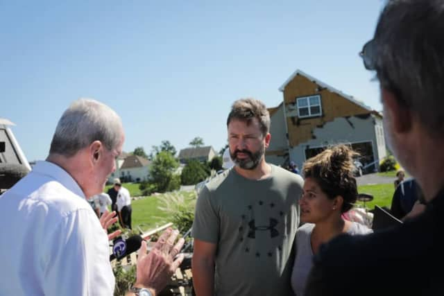 Gov. Phil Murphy meets with Mullica Hill homeowners devastated by the EF-3 tornado.