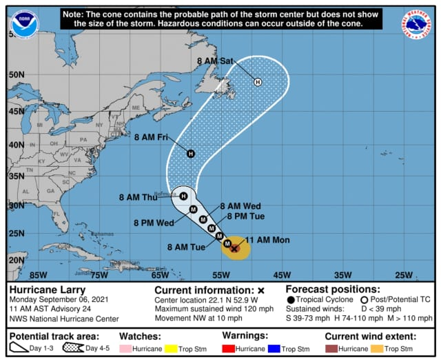 National Hurricane Center's latest look at Larry's projected track.