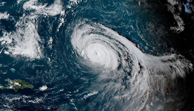Hurricane Larry churning in the Atlantic basin.