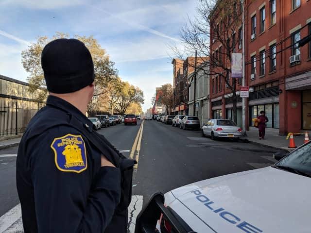 Yonkers police officers on Warburton Avenue.