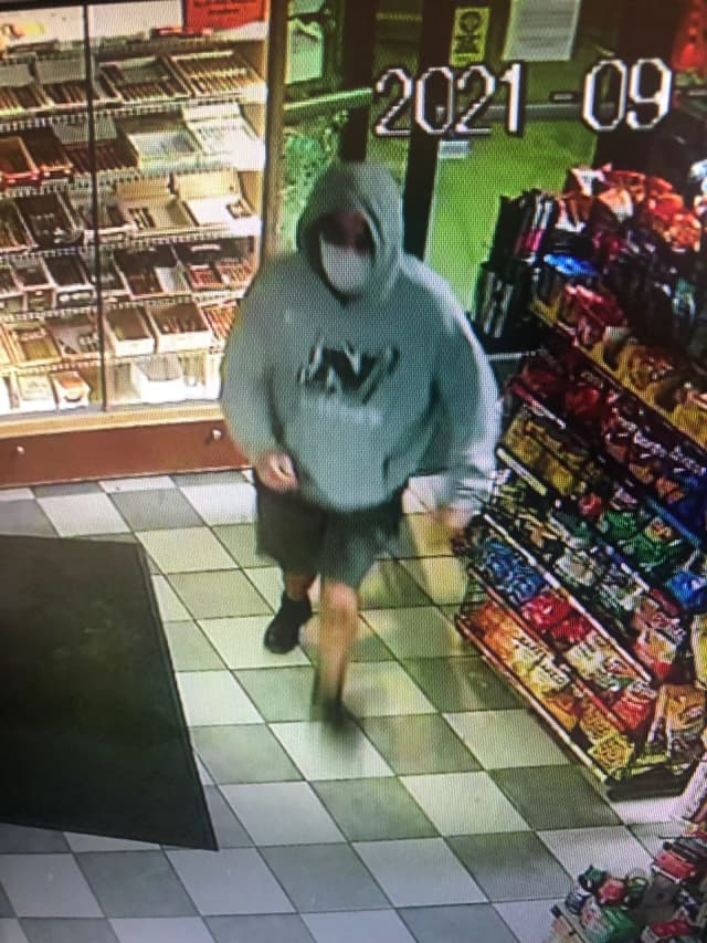 A wanted man was caught on camera after robbing a store in Massachusetts.