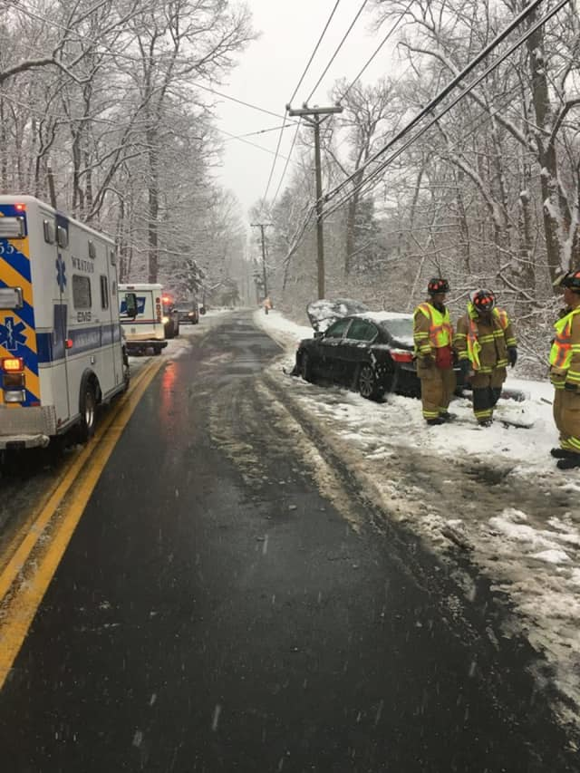 One person was injured in a crash on Good Hill Road in Weston on Saturday afternoon.
