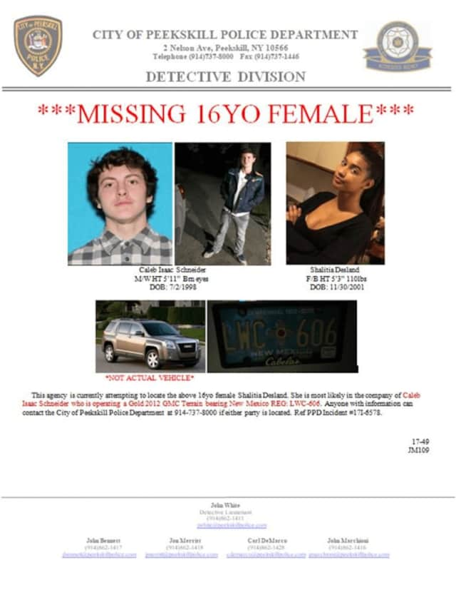 Information on the missing 16-year-old girl, the man who is believed to be accompanying her and the SUV they are believed to be in.
