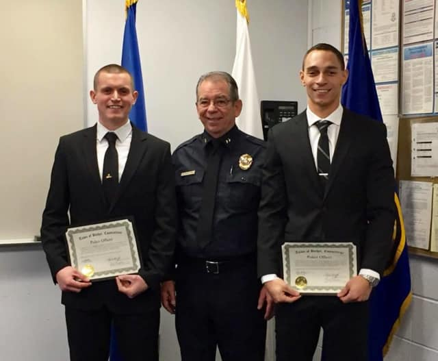 Officers Daniel Tlasky (pictured left) and Bryce Brown (pictured right) were both sworn in to the Bethel Police Department