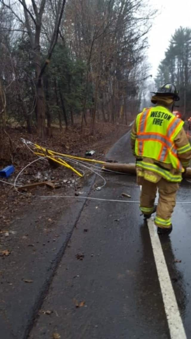 One person was sent to the hospital after a crash on Newtown Turnpike in Weston on Saturday.