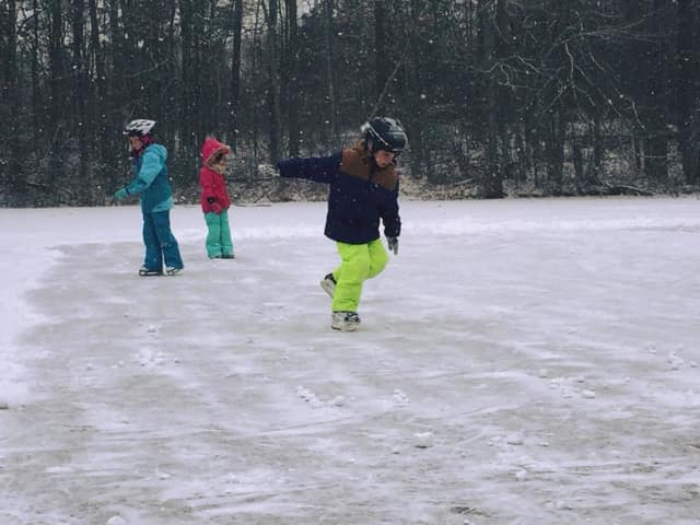 The Frog Pond is frozen and open for skating at the Nichols Improvement Association in Trumbull.