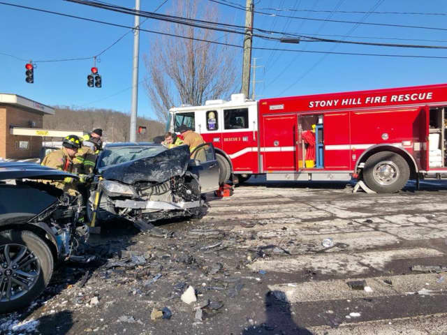 Two people were injured in a two-car crash on Route 6 in front of Target in Bethel on Saturday.