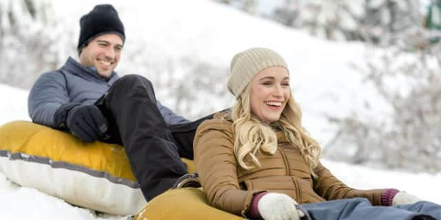 "Katrina Bowden stars alongside Thomas Beaudoin in ""Love on the Slopes"" on Hallmark Channel."