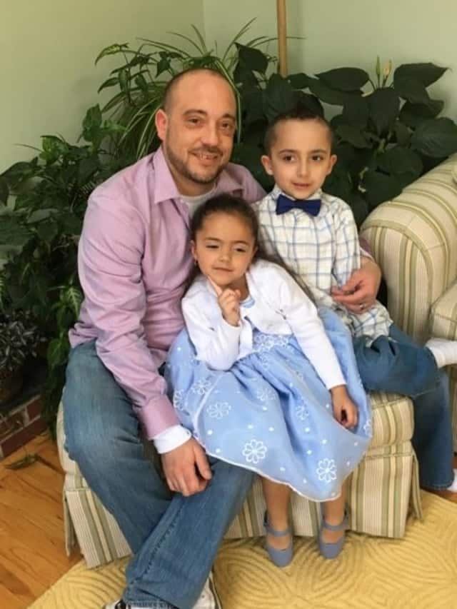 Patrick Pantalone and his two children, Alessandro, 9, and Gabriella, 5. The Stratford native is looking for a kidney donor.