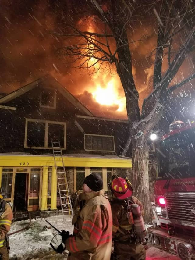 A home built in 1900 was heavily damaged during a three-alarm fire.