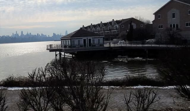 The distraught man was up to his waist in the Hudson, Edgewater police said.