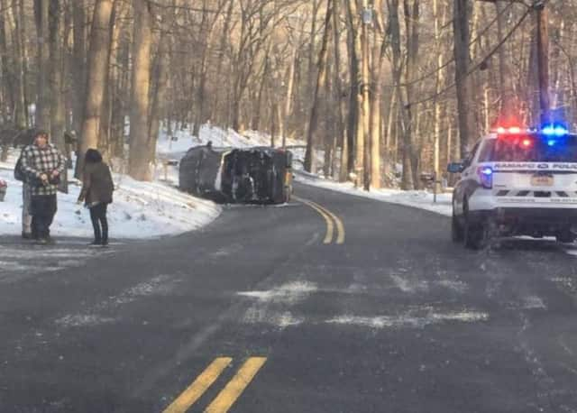 Ramapo Police on the scene of a single-vehicle crash on Wilder Road.