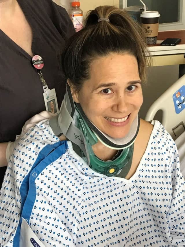 Victoria Gouletas of Westport suffered many broken bones when a tree snapped and fell on her March 7 in the Nor'easter.