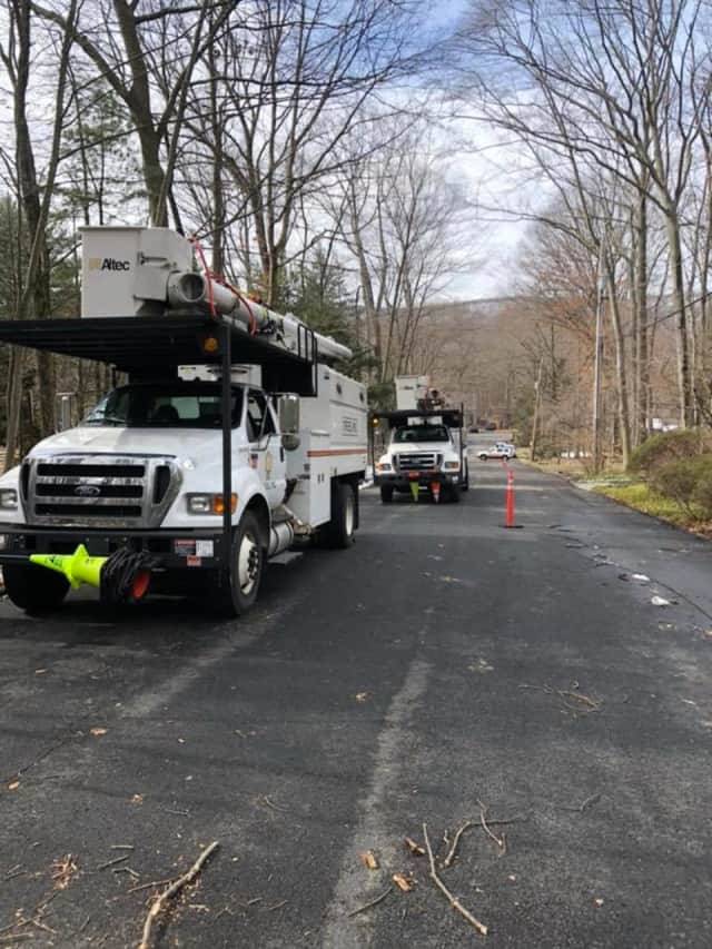 Crews removing trees over the weekend in Ramapo.