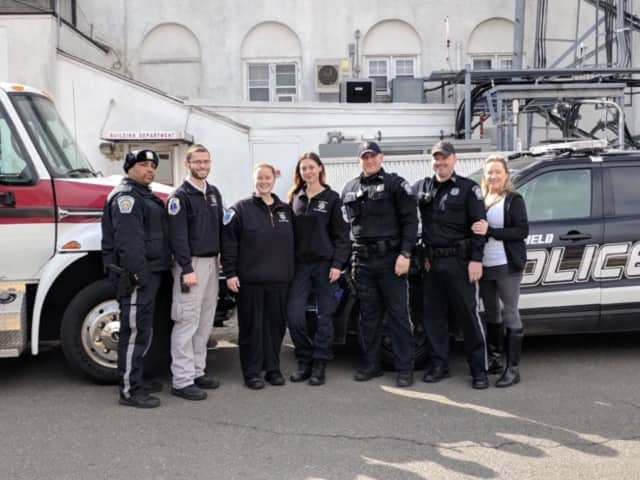 L to R: Officer Jose Portorreal, Lt. Max Farkas, Lt. Melissa Naylis, EMT Katie Rolik, Officer Rick Tauber, Officer Tim Knapp, EMT Jennie Mazzilli. Not pictured: Paramedic Chris Kerrigan and Paramedic Ellen Davis.