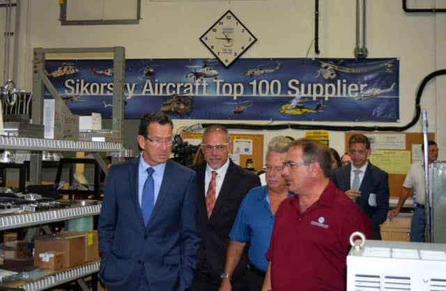 Gov. Dannel Malloy tours Cambridge Specialty Company in Berlin, which is a supplier to Sikorsky Aircraft.