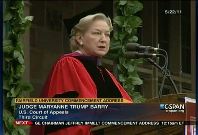 Judge Maryanne Trump Barry, U.S. Court of Appeals Third Circuit and Donald Trump's sister, gives the 2011 Fairfield University commencement address.