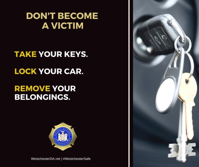The Westchester County District Attorney's Office warned that vehicle thefts are on the rise.