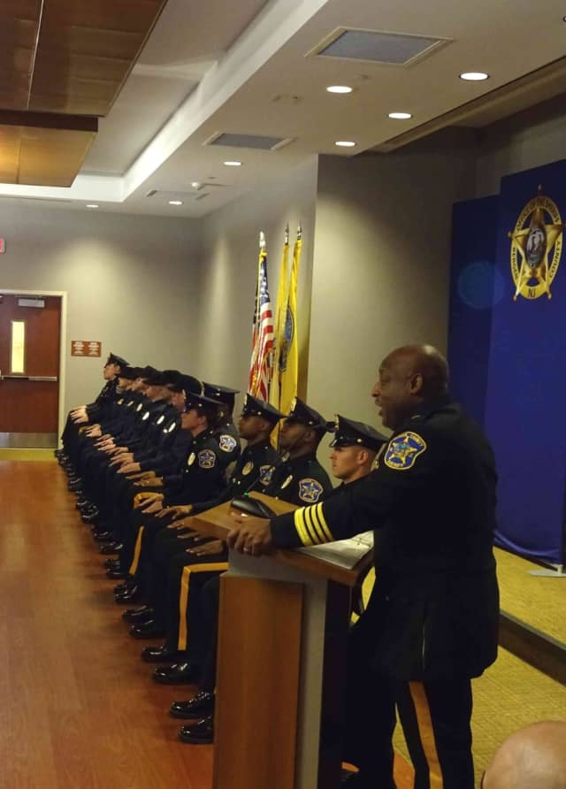 Bergen County Sheriff Anthony Cureton welcomes the new hires.
