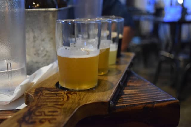 A flight of Yonkers Brewing beers, including Ray's IPA.