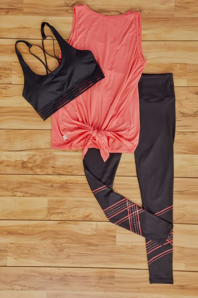 The coral top from the January box features an open, tie-back tank for ultimate breathability.