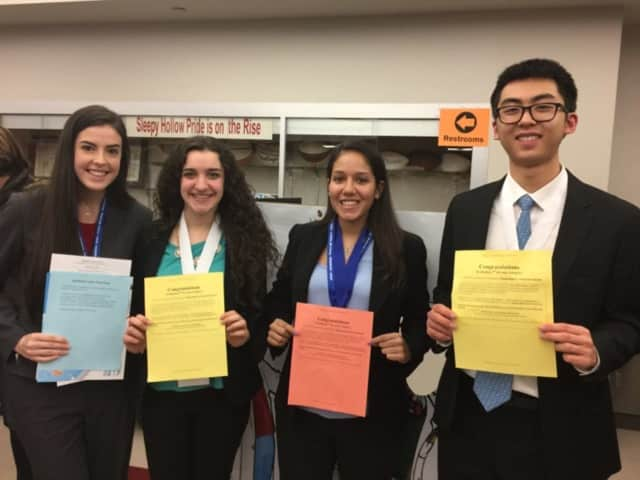 Hendrick Hudson High School students Isabella Brizzi, Melody Munitz, Melanie Porras and Jonathan Chung earned prizes at the recent WESEF competition in Sleepy Hollow.