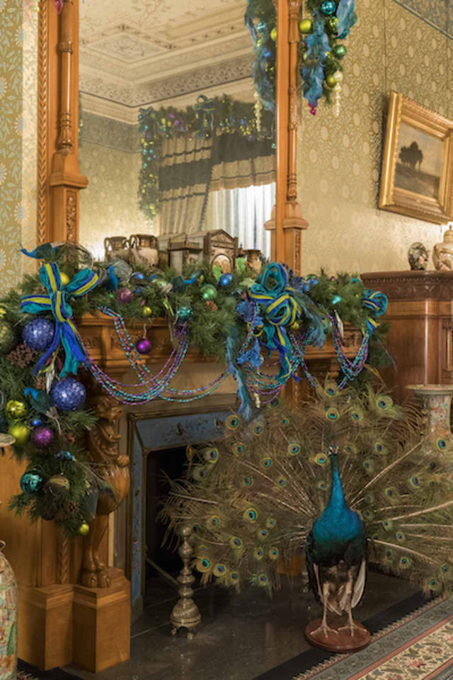 Visitors can tour the seasonal decorations of the six period rooms of Glenview, the historic home of the Hudson River Museum in Yonkers, through Dec. 31. George Ross photograph courtesy Hudson River Museum.