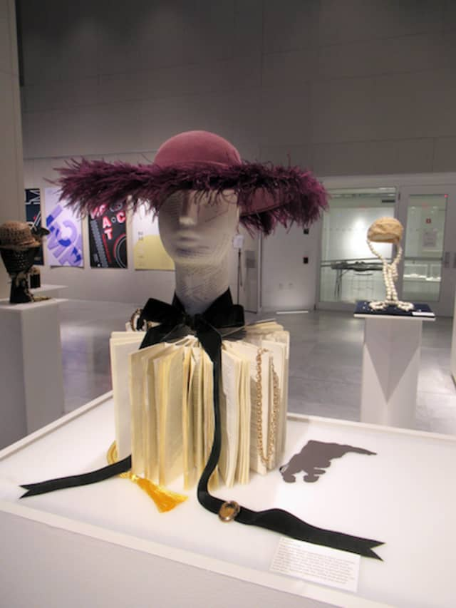 """""""Hattitude,"""" an exhibition that paired FIT students' creativity with a recently donated millinery collection, enlivened the Art and Design Gallery of the Pomerantz Center on the school's Manhattan campus. Photograph by Mary Shustack."""