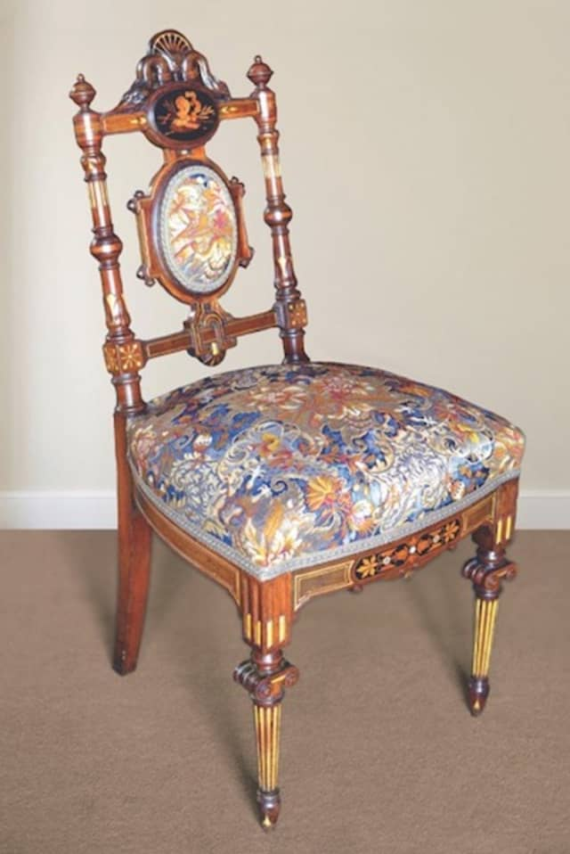 A rare Herter Brothers chair, part of the furnishings of the Lockwood-Mathews Mansion Museum during the Mathews era, has been recently re-acquired and will be on view this year. Photograph by Gus Apazidis. Courtesy Lockwood-Mathews Mansion Museum.