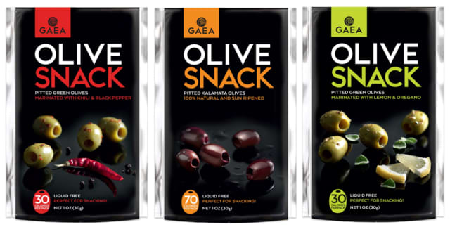GAEA Olive Snacks offer a convenient way to take olives on the road. Courtesy GAEA.