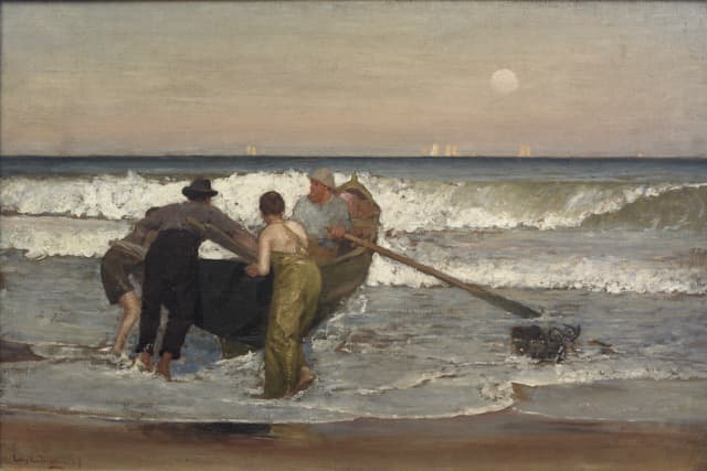 """""""Pushing Off the Boat at Sea Bright, New Jersey,"""" by Louis Comfort Tiffany, 1887, oil on canvas, as featured in """"Becoming Tiffany: From Hudson Valley Painter to Gilded Age Tastemaker"""" at Lyndhurst. Courtesy Nassau County Museum of Art, Roslyn, New York."""